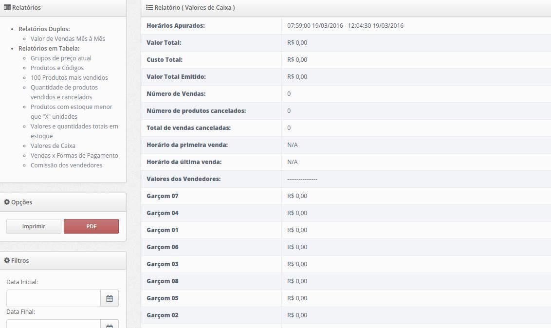 Screenshot Valores de Caixa